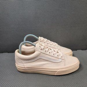 Womens Sz 7 Cream Vans Low Top Sneakers